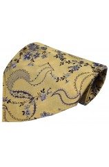 Soprano Gold Floral Patterned Mens Silk Pocket Square