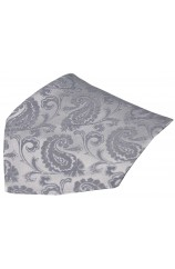Soprano Silver Paisley Mens Silk Pocket Square