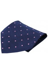 Soprano Navy With Pink Spots Mens Silk Pocket Square