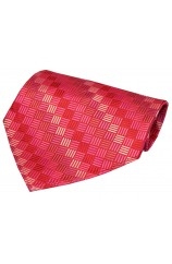 Fuchsia With Shades of Pink Box Pattern Luxury Silk Hanky