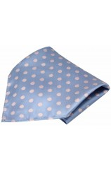Soprano Sky Blue Pink Polka Dot Mens Silk Pocket Square