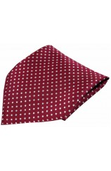 Soprano Wine and White Luxury Pin Dot Woven Silk Hanky