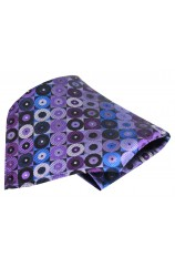 Soprano Shades of Purple Circle Pattern Silk Pocket Square