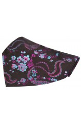 Soprano Dark Purple Floral Pattern Silk Pocket Square