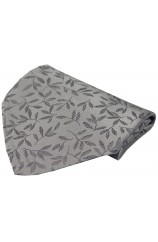 Soprano Silver Leaf Patterned Mens Silk Pocket Square
