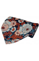 Posh And Dandy Multi Coloured Floral Hanky On Navy Ground