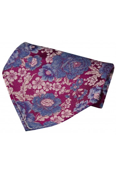 Posh And Dandy Shades Of Cerise Blue Lilac Floral Silk Hanky