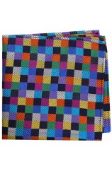 Posh and Dandy Luxury Multi Coloured Small Squares Silk Hanky