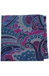 Posh And Dandy Large Edwardian Multi Coloured Paisley Silk Pocket Square