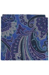 Posh & Dandy Large Edwardian Blue Purple Green Paisley Silk Pocket Square