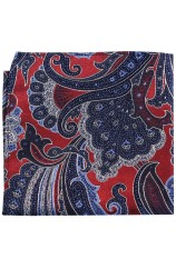 Posh & Dandy Large Edwardian Red Navy Blue Paisley Silk Pocket Square
