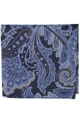 Posh & Dandy Large Edwardian Navy Blue Paisley Silk Pocket Square