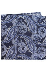 Posh & Dandy Navy And Blue Classic Paisley Silk Pocket Square