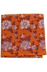 Posh And Dandy Burnt Orange Floral Silk Hanky