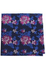 Posh And Dandy Dark Navy Fuchsia Flowers Silk Hanky