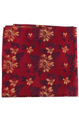 Posh & Dandy Maroon Ground Red Wine Gold Flowers Silk Hanky