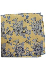 Posh & Dandy Gold Ground Navy Blue Flowers Silk hanky