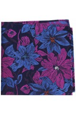 Posh & Dandy Purple And Blue Large Flowers Silk Hanky