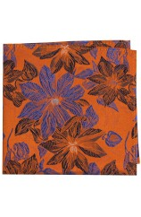 Posh & Dandy Orange And Blue Flowers Silk Pocket Square