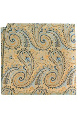 Posh & Dandy Luxury Gold Swirly Paisley Silk Hanky