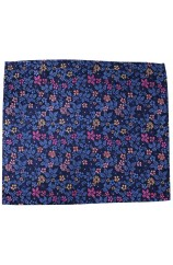 Posh & Dandy Italian Design Navy Blue Ground With Multi Coloured Flowers Silk Hanky