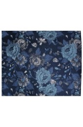Posh & Dandy Italian Design Navy With Large Flowers Silk Hanky
