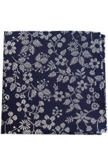 Soprano Navy With White Flowers Silk Pocket Square