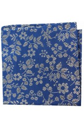 Soprano Blue With White Flowers Silk Pocket Square
