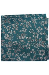 Soprano Green With White Flowers Silk Pocket Square