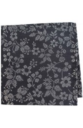 Soprano Dark Grey With White Flowers Silk Pocket Square