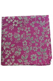 Soprano Fuchsia With White Flowers Silk Pocket Square