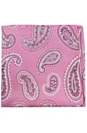 Soprano Pink Classic Paisley Silk Pocket Square