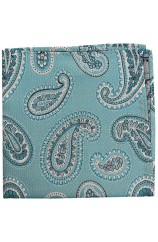 Soprano Turquoise Classic Paisley Silk Pocket Square