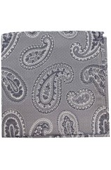 Soprano Grey Classic Paisley Silk Pocket Square