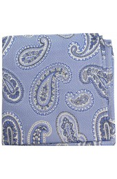Soprano Blue Classic Paisley Silk Pocket Square
