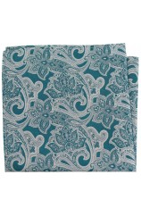 Soprano Green Edwardian Paisley Silk Pocket Square