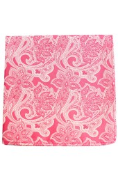 Soprano Pink Edwardian Paisley Silk Pocket Square