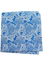 Soprano Blue Edwardian Paisley Silk Pocket Square