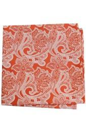 Soprano Orange Edwardian Paisley Silk Pocket Square