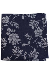 Soprano Navy Flower And Leaf Luxury Silk Tie