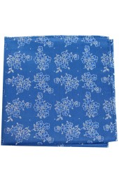 Soprano Mid Blue Small Flowers Silk Pocket Square