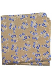 Soprano Tan Small Flowers Silk Pocket Square