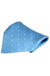 Soprano Turquoise and White Polka Dot Silk Pocket Square