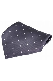 Soprano Dark Charcoal and White Polka Dot Silk Pocket Square