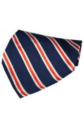 Soprano Navy Red And White Striped Silk Hanky