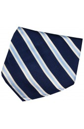 Soprano Navy Sky And White Striped Silk Hanky