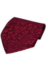 Soprano Wine Jaquard Leaf patterned Silk Handkerchief