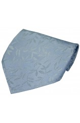 Soprano Sky Blue Jaquard Leaf patterned Silk Handkerchief