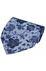 Soprano Sky Blue Floral Patterned Silk Handkerchief