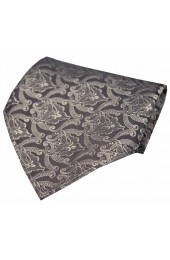 Soprano Grey Silver Victorian Wallpaper Pattern Silk Hanky